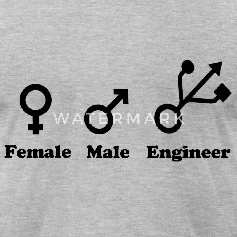 Female, Male, Engineer - Men's T-Shirt by American Apparel