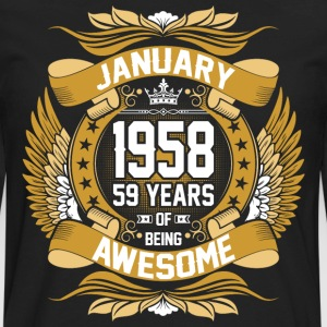 January 1958 59 Years Of Being Awesome T-Shirts - Men's Premium Long Sleeve T-Shirt