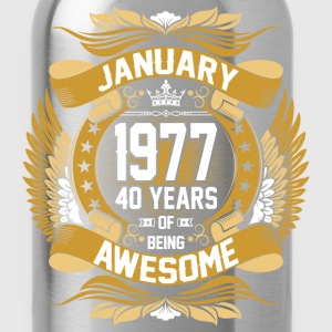 anuary 1977 40 Years Of Being Awesome T-Shirts - Water Bottle
