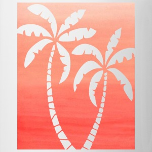 Women's Dark Peach Ombre Palm Cutout White T-shirt - Coffee/Tea Mug