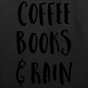 Coffee, Books & Rain Quote T-Shirts - Eco-Friendly Cotton Tote