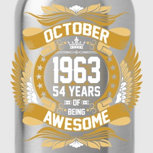 October 1963 54 Years Of Being Awesome T-Shirts - Water Bottle