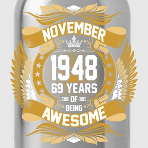 November 1948 69 Years Of Being Awesome T-Shirts - Water Bottle