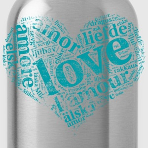 mint green heart LOVE in different languages T-Shirts - Water Bottle