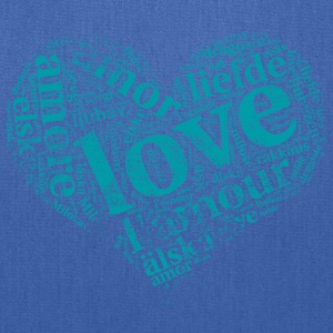 mint green heart LOVE in different languages T-Shirts - Tote Bag