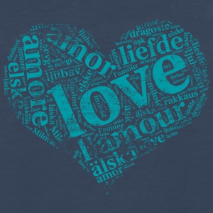 mint green heart LOVE in different languages T-Shirts - Men's Premium Long Sleeve T-Shirt