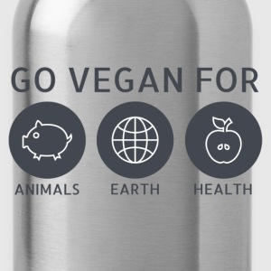 Go Vegan For Animals, Earth and Health T-Shirts - Water Bottle