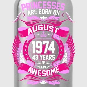 Princesses Are Born On August 1974 43 Years T-Shirts - Water Bottle