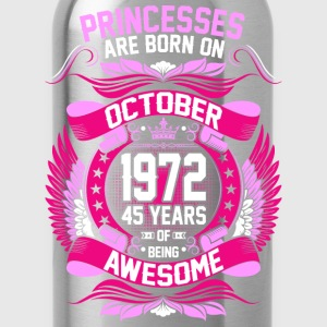 Princesses Are Born On October 1972 45 Years T-Shirts - Water Bottle