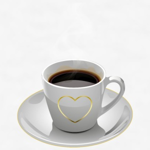 Cup with heart and saucer, golden heart - Men's T-Shirt