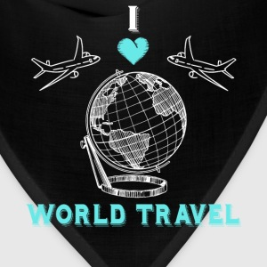 I Love World Travel Globe Planes Vacation T-Shirt T-Shirts - Bandana