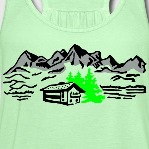 Mountain cottage forest T-Shirts - Women's Flowy Tank Top by Bella