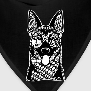 German Shepherd Face Graphic Art T-Shirt T-Shirts - Bandana
