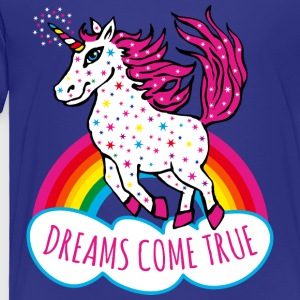 Unicorn Rainbow Dreams come true Stars Fun Kids Te - Toddler Premium T-Shirt