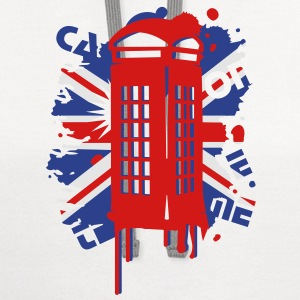 red telephone box with a British flag Kids' Shirts - Contrast Hoodie