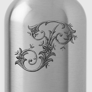 Floral Monogram Alphabet Letter P - Water Bottle