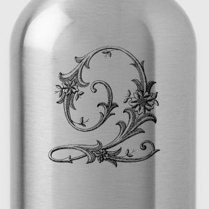 Floral Monogram Alphabet Letter Q - Water Bottle