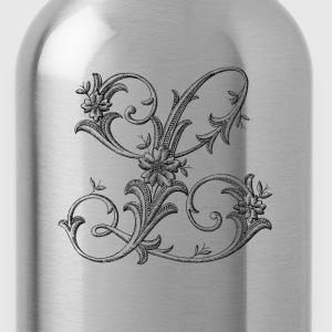 Floral Monogram Alphabet Letter L - Water Bottle