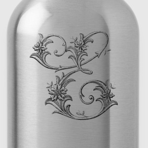 Floral Monogram Alphabet Letter E - Water Bottle