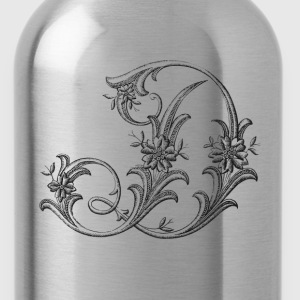 Floral Monogram Alphabet Letter D - Water Bottle