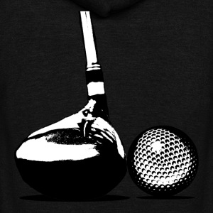 Golf Ball and Club - Unisex Fleece Zip Hoodie by American Apparel