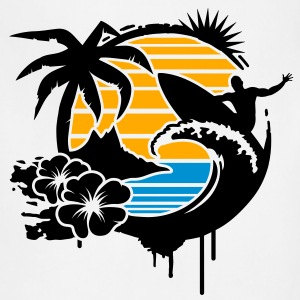 Surfing graffiti - Palm, hibiscus, island, wave and surfer with surfboard  T-Shirts - Adjustable Apron