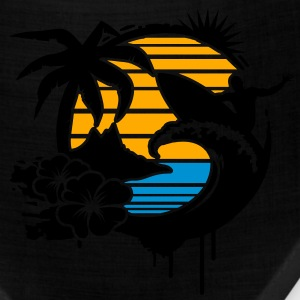 Surfing graffiti - Palm, hibiscus, island, wave and surfer with surfboard  T-Shirts - Bandana