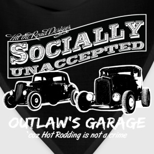 Outlaw's Garage. Socially unaccepted Hot Rods. Two Hot-Rods. For dark apparel. - Bandana
