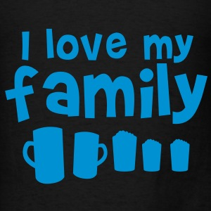 I LOVE MY FAMILY with all different types of beer pint glasses Bags  - Men's T-Shirt