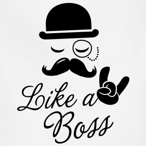 Like a boss meme slogan with fashionable moustache sir t-shirts for geek stag frat mad birthday party Kids' Shirts - Adjustable Apron