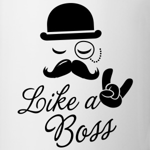 Like a boss meme slogan with fashionable moustache sir t-shirts for geek stag frat mad birthday party Kids' Shirts - Coffee/Tea Mug