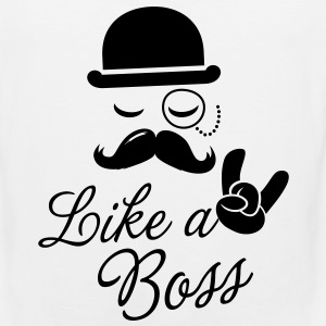 Like a boss meme slogan with fashionable moustache sir t-shirts for geek stag frat mad birthday party Kids' Shirts - Men's Premium Tank