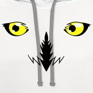 REALISTIC snowy owl eyes very effective!  Kids' Shirts - Contrast Hoodie