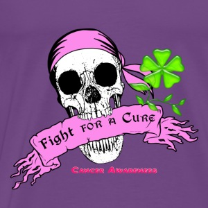 Fight For a Cure Skull Scroll Pink Hoodies - Men's Premium T-Shirt