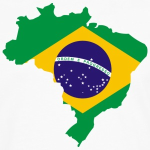 Map Brazilian Flag T-Shirts - Men's Premium Long Sleeve T-Shirt