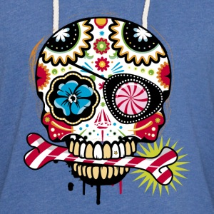 Skull with eye patch and candy cane T-Shirts - Unisex Lightweight Terry Hoodie