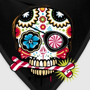 Skull with eye patch and candy cane T-Shirts - Bandana