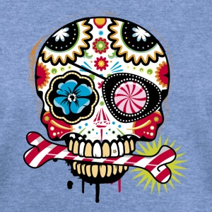 Skull with eye patch and candy cane T-Shirts - Women's Wideneck Sweatshirt