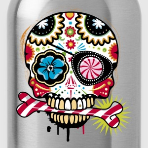 Skull with eye patch and candy cane T-Shirts - Water Bottle