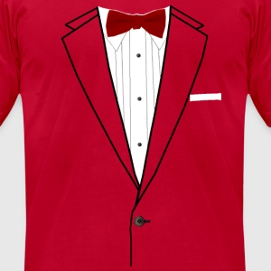 Tuxedo Red Bowtie Long Sleeve Shirts - Men's T-Shirt by American Apparel