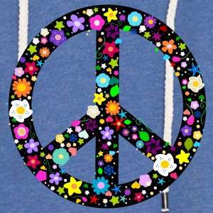 Floral Peace Sign T-Shirts - Unisex Lightweight Terry Hoodie