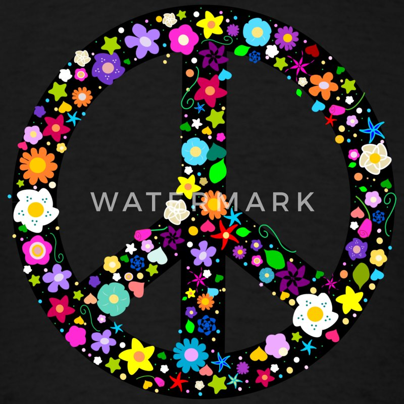 Floral Peace Sign Kids' Shirts - Men's T-Shirt