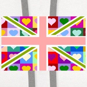 Union Jack of Hearts - Pink British Flag Women's T-Shirts - Contrast Hoodie