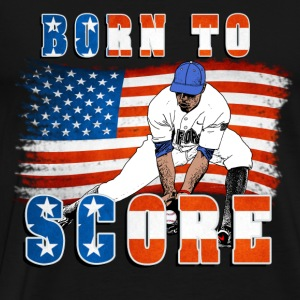 Born to Score BaseBall Player Catcher Hoodies - Men's Premium T-Shirt