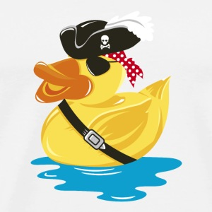 A pirate rubber duck with a pirate hat and eye pat Buttons - Men's Premium T-Shirt