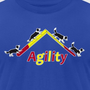 agility border collie 4 Hoodies - Men's T-Shirt by American Apparel