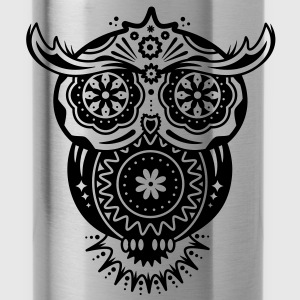 Owl in the style of Sugar Skulls Tanks - Water Bottle