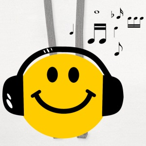 Music Love Smiley with Headphones Long Sleeve Shirts - Contrast Hoodie