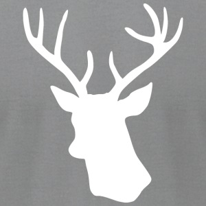 White Stag Deer Head Long Sleeve Shirts - Men's T-Shirt by American Apparel