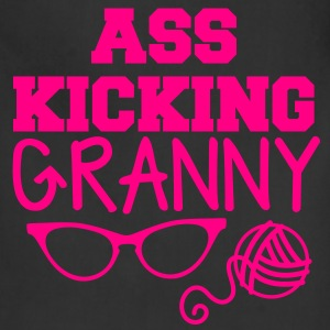 ass kicking granny with knitting ball of wool T-Shirts - Adjustable Apron